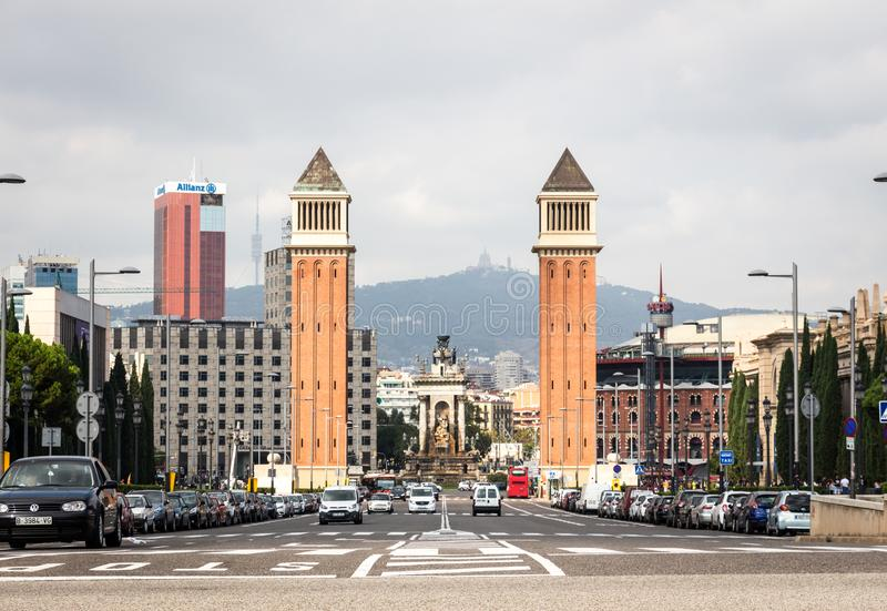 Placa Espanya通过威尼斯式塔 库存图片