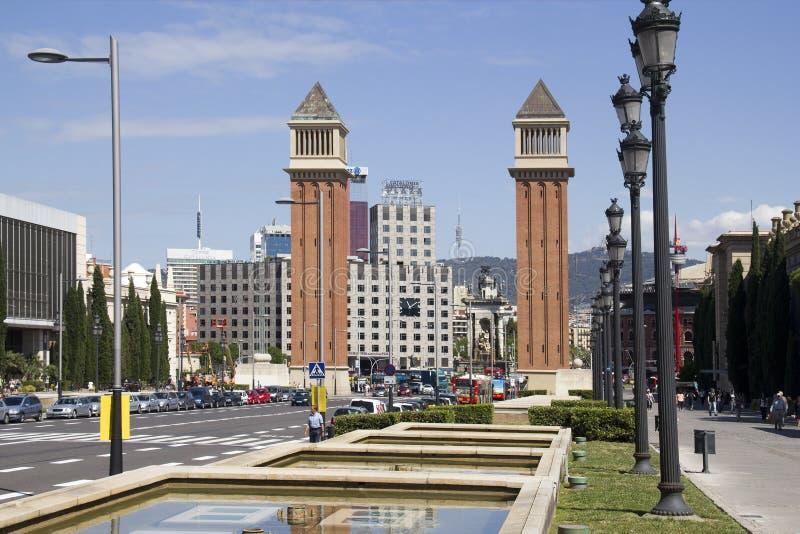 Placa Espanya em Barcelona, Espanha foto de stock