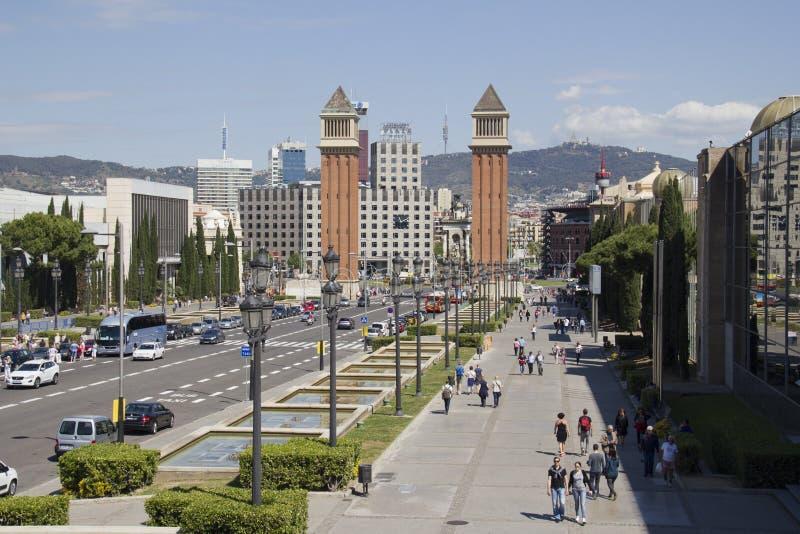 Placa Espanya em Barcelona, Espanha foto de stock royalty free