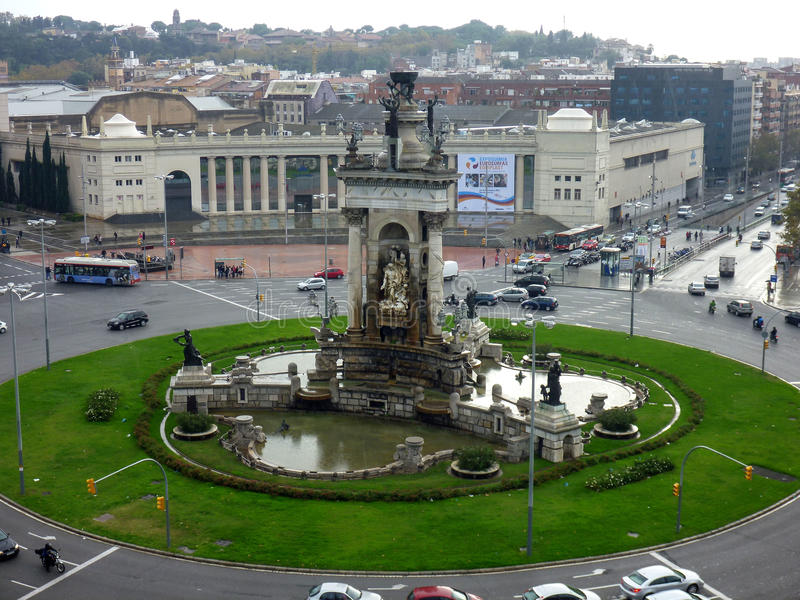 Placa Espanya and Montjuic Hill with National Art Museum of Catalonia royalty free stock photo