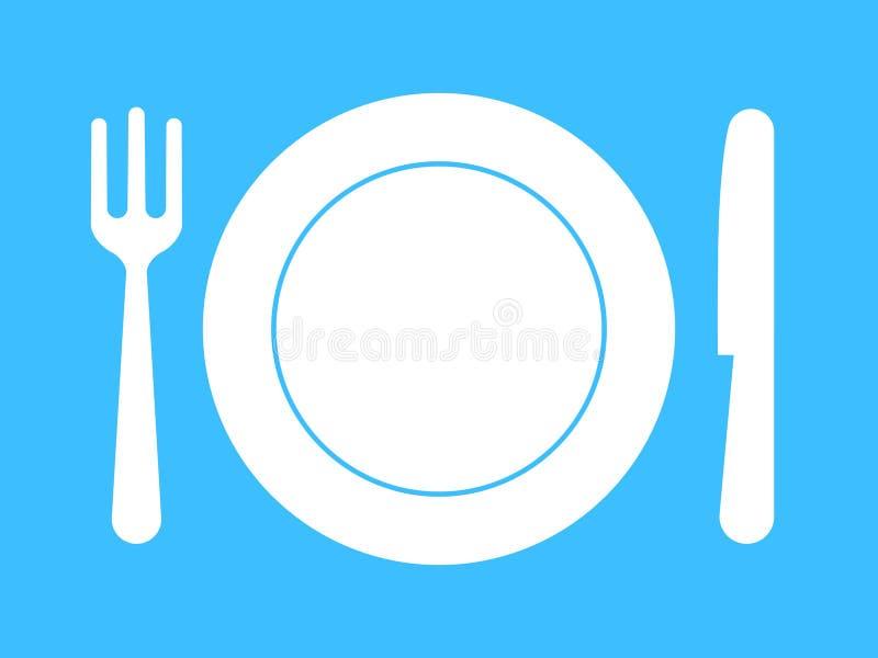 Placa, fork, cuchillo - servicio de mesa libre illustration