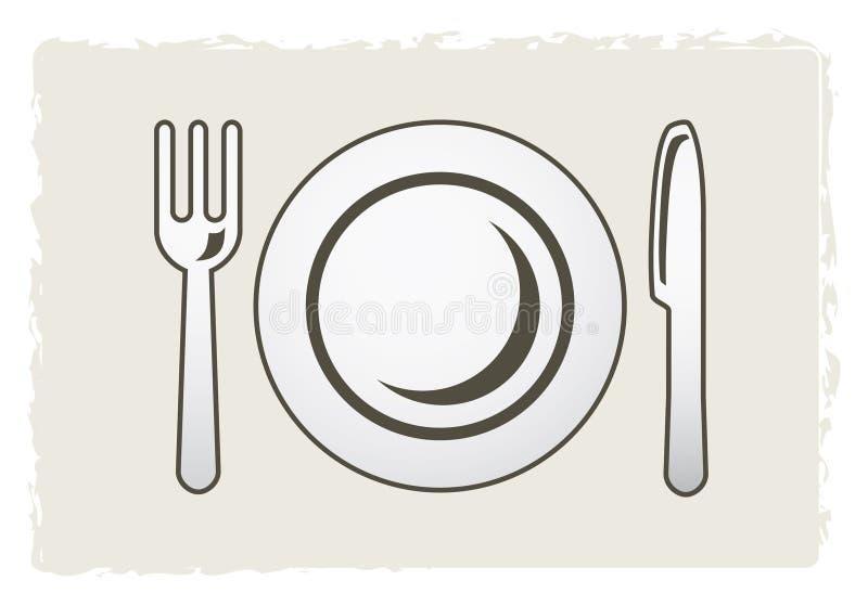 Placa, fork y cuchillo ilustración del vector