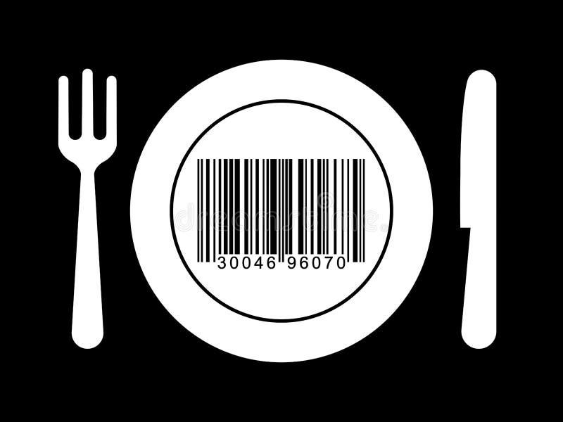 Placa, fork y cuchillo con clave de barras stock de ilustración