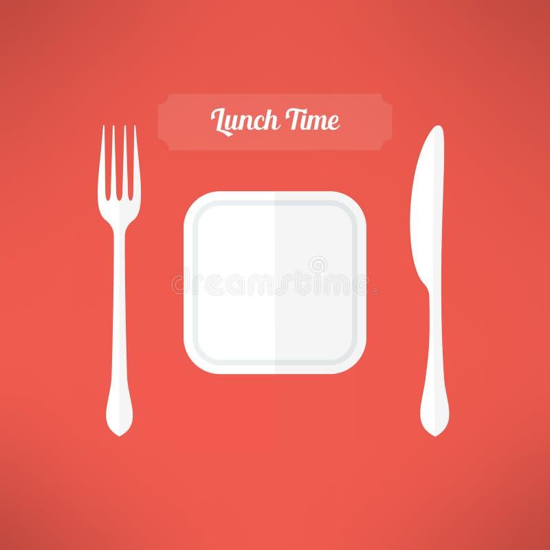 Placa, fork y cuchillo Concepto del tiempo del almuerzo Vector libre illustration