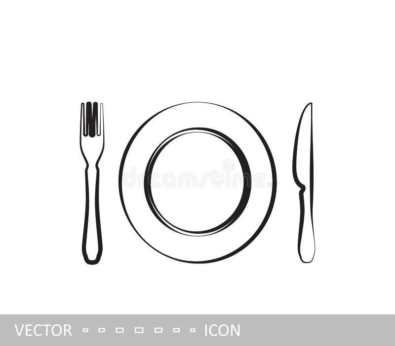 Placa, fork y cuchillo Fije de iconos en estilo linear del diseño libre illustration