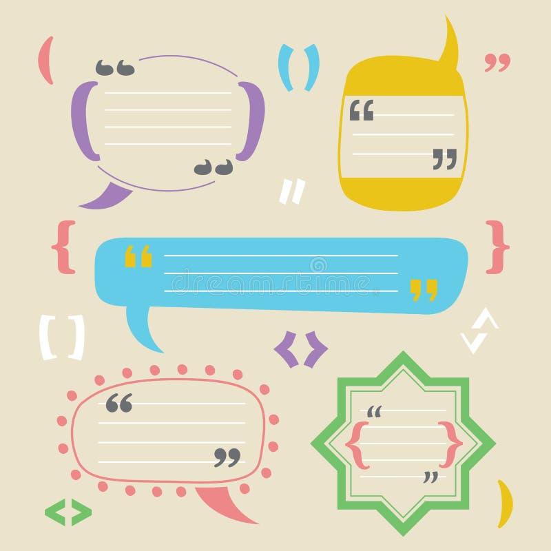 Placa funky da cor e elementos vazios da cenografia dos ícones das citações do bloco no fundo bege ilustração stock