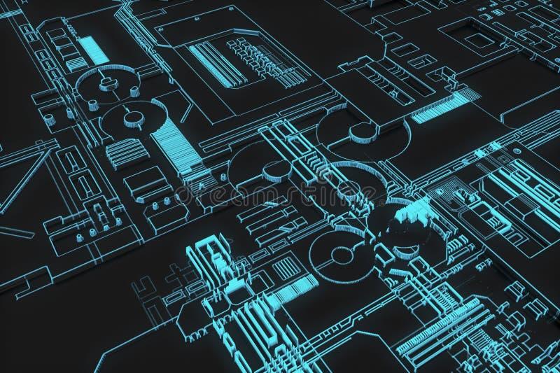 Placa futurista do computador ilustração do vetor