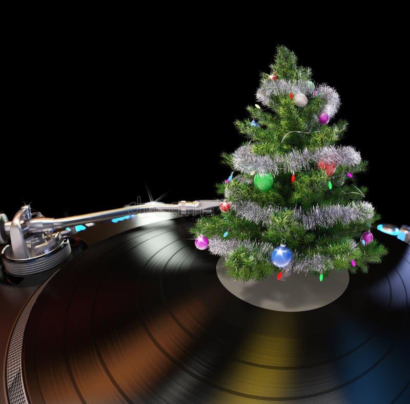 Placa giratoria con el árbol de navidad stock de ilustración