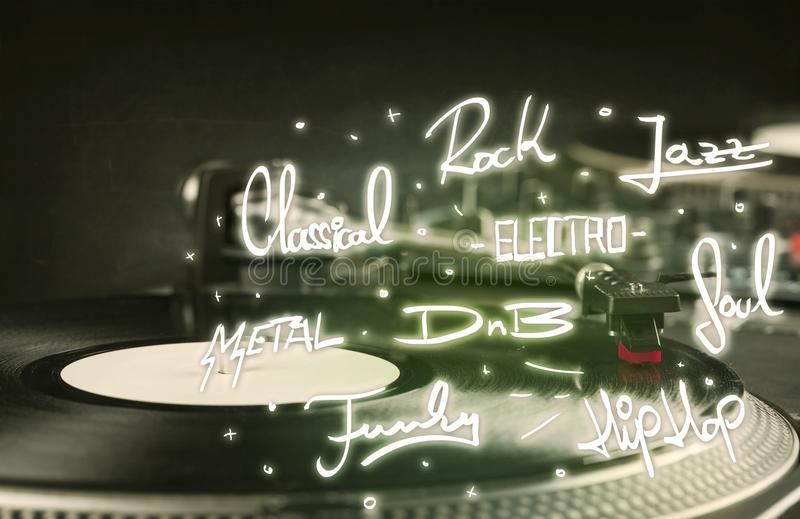Placa giratoria con los géneros del vinilo y de la música escritos imagenes de archivo