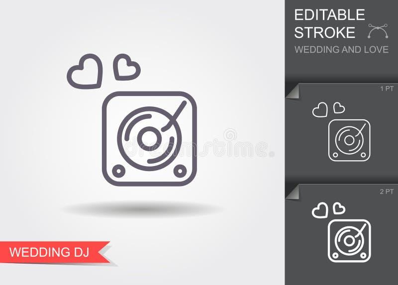 Placa giratoria del disk jockey Línea icono con la sombra y el movimiento editable stock de ilustración