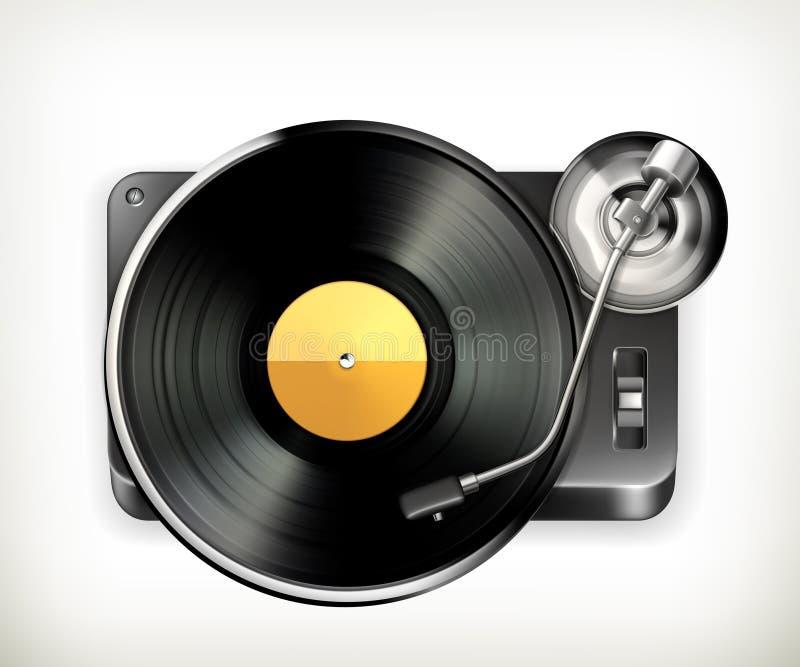 Placa giratoria del fonógrafo stock de ilustración