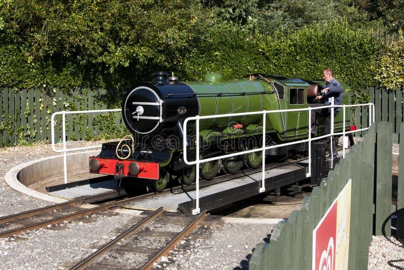 Placa giratoria turística scarborough del tren del vapor imágenes de archivo libres de regalías