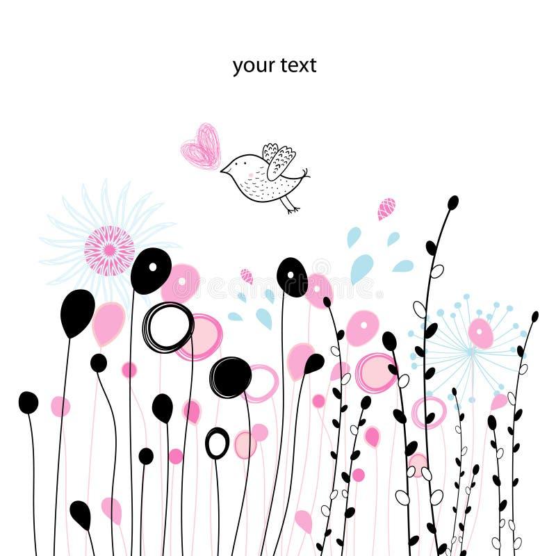 Placa gráfica vegetal e um pássaro ilustração do vetor