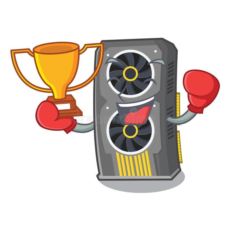 Placa gr?fica video de encaixotamento do vencedor acima da cadeira dos desenhos animados ilustração stock