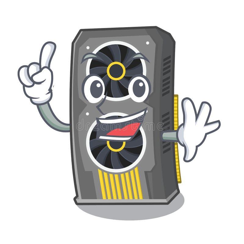 Placa gr?fica video do dedo acima da cadeira dos desenhos animados ilustração do vetor