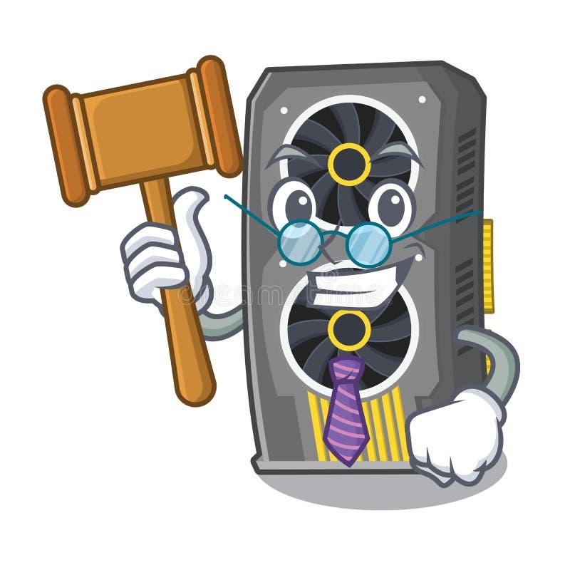 Placa gr?fica video do juiz acima da cadeira dos desenhos animados ilustração stock
