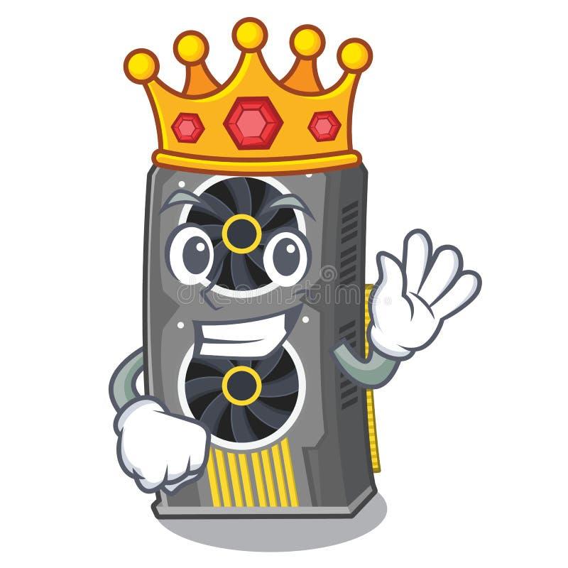 Placa gr?fica video do rei acima da cadeira dos desenhos animados ilustração do vetor