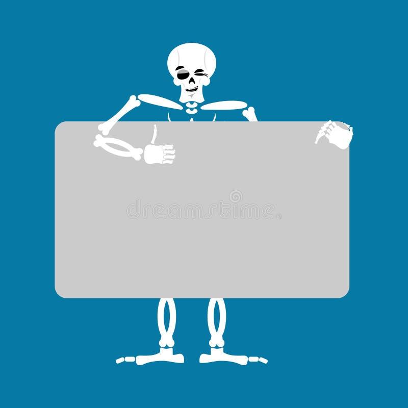 Placa guardando de esqueleto da bandeira morte e placa branca joyf do crânio ilustração royalty free