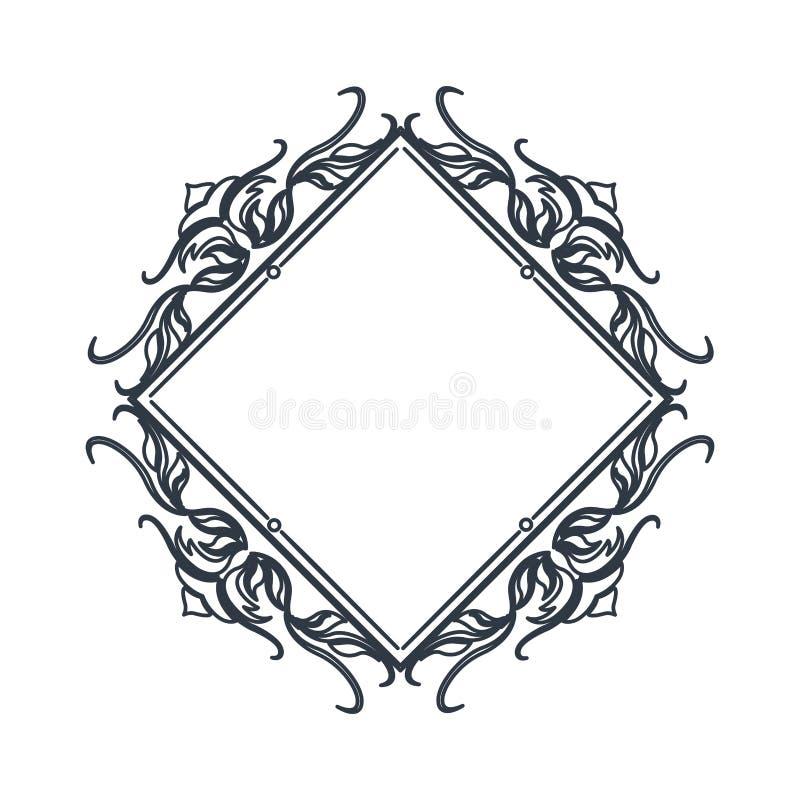 Placa heráldica da decoração da crista clássica do polígono do quadro ilustração stock