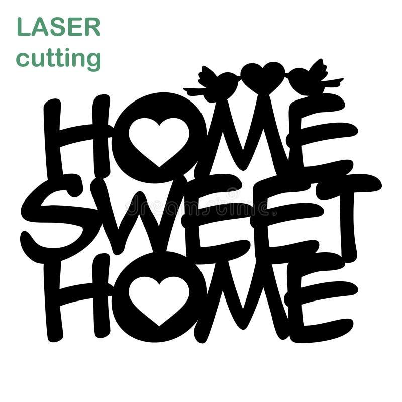 Placa home doce home Máquina de corte do laser do molde para a madeira, ilustração do vetor
