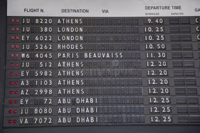 Placa idosa da informação do voo imagem de stock royalty free
