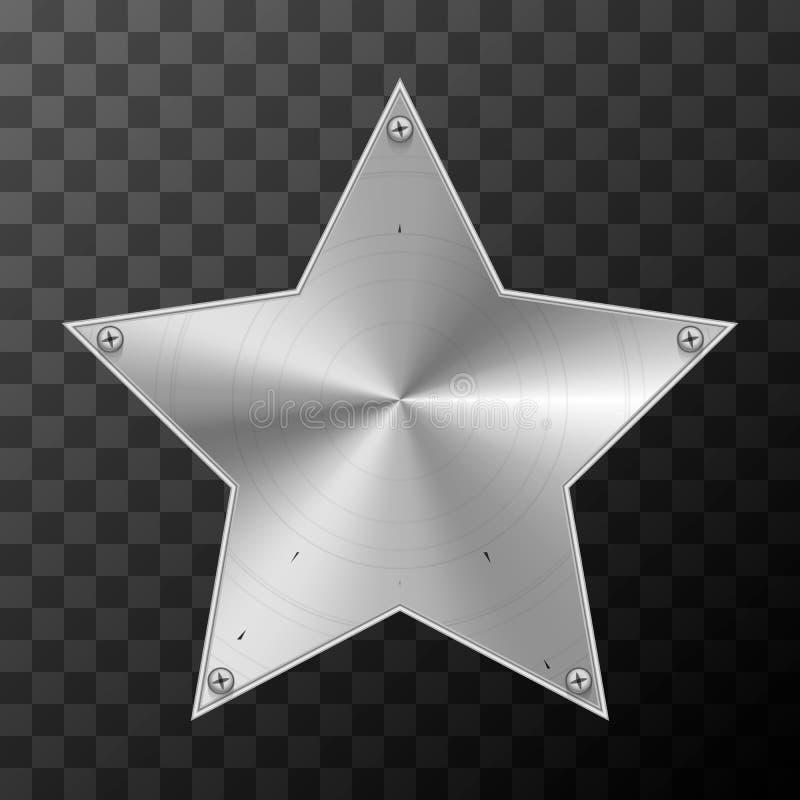 Placa industrial do metal lustroso na forma da estrela em transparente ilustração stock