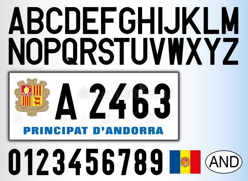 Placa, letras, números y símbolos del coche de Andorra libre illustration