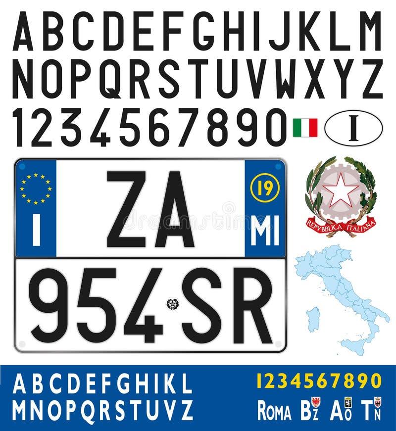 Placa, letras, números y símbolos del coche de Italia stock de ilustración