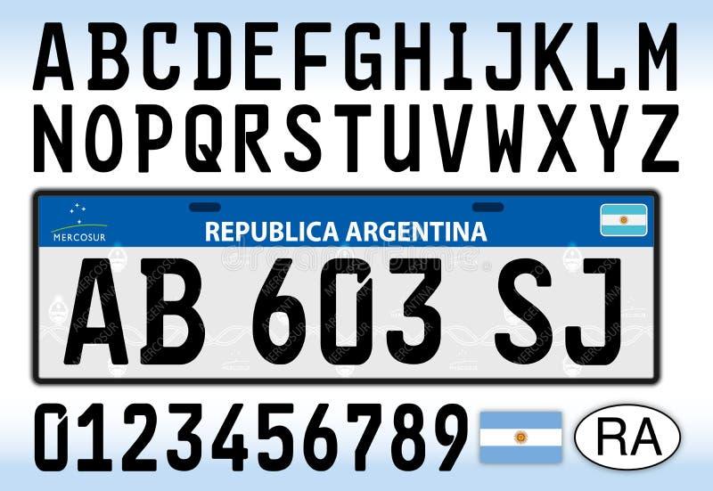 Placa, letras, números y símbolos del coche de la Argentina libre illustration