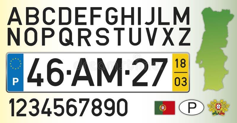 Placa, letras, números y símbolos del coche de Portugal libre illustration