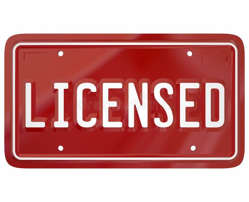 A placa licenciada da palavra registrou o auto motorista Licensing do veículo 3d ilustração stock