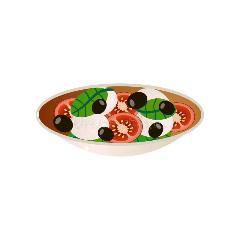 Placa llena del plato del vegano con el tomate y la aceituna negra cutted libre illustration