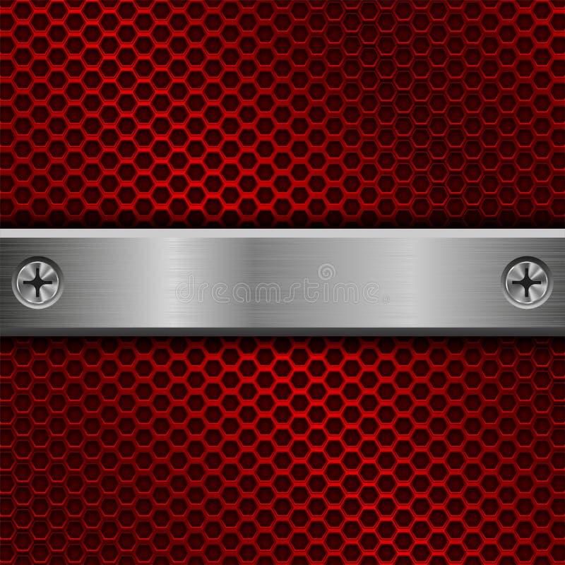 Placa longa de aço com os parafusos no fundo perfurado vermelho ilustração royalty free