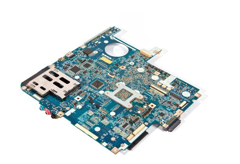 Placa madre azul de la computadora portátil aislada en blanco fotos de archivo