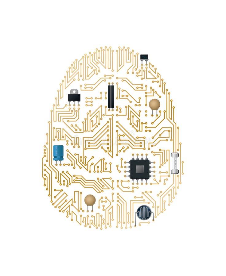 Placa madre del cerebro humano ilustración del vector