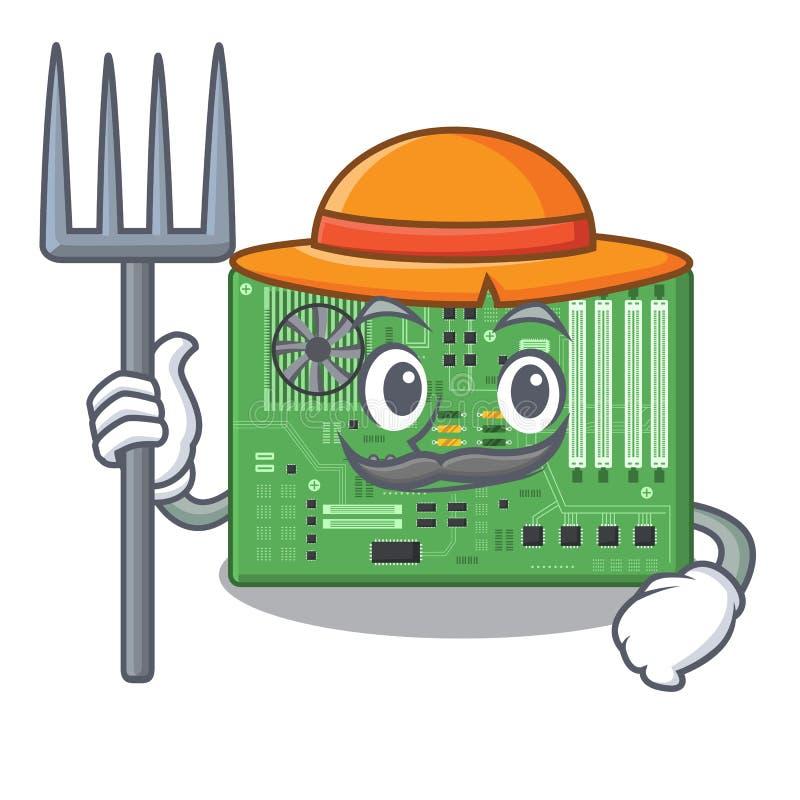 Placa madre del granjero aislada con en el characater ilustración del vector