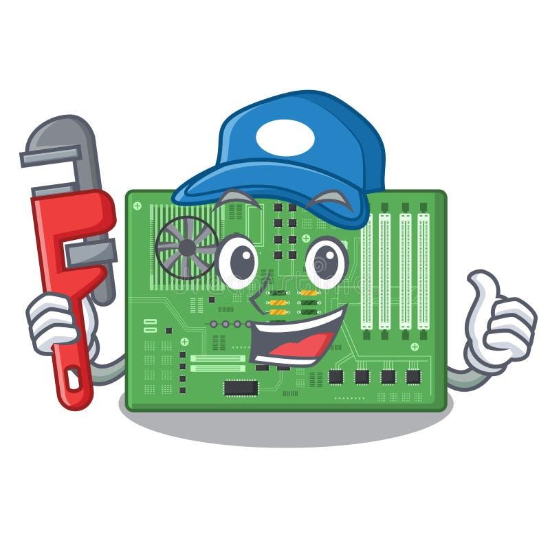 Placa madre del juguete del fontanero en un bolso de la mascota ilustración del vector