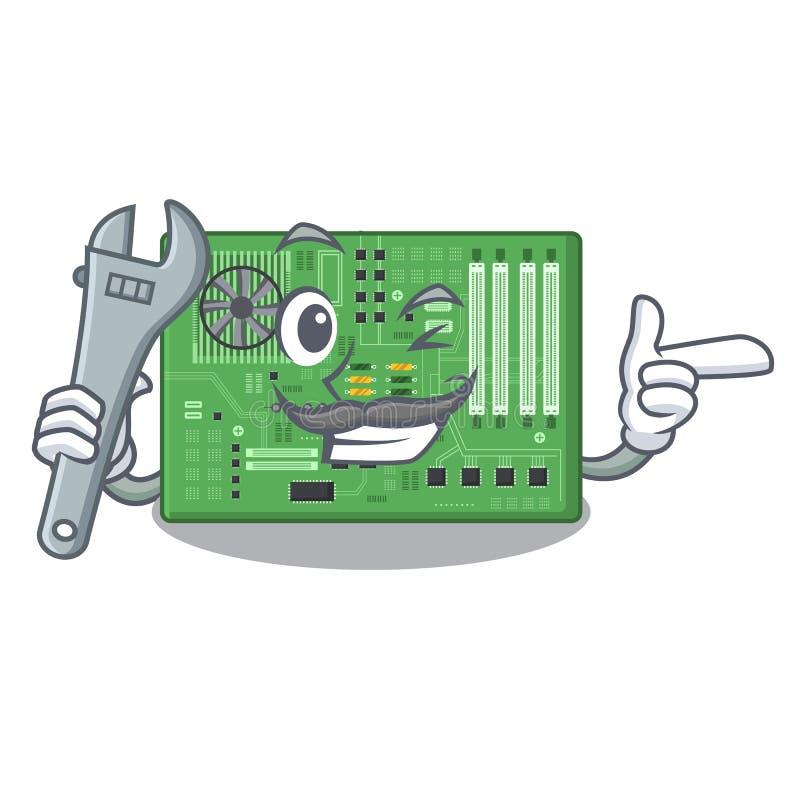 Placa madre del juguete del mecánico en un bolso de la mascota ilustración del vector
