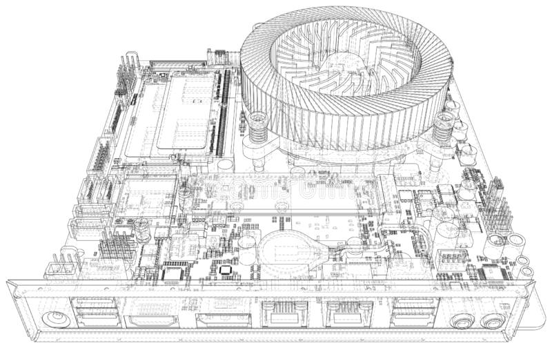 Placa madre del ordenador Microprocesador digital de la placa madre Representaci?n del vector de 3d libre illustration