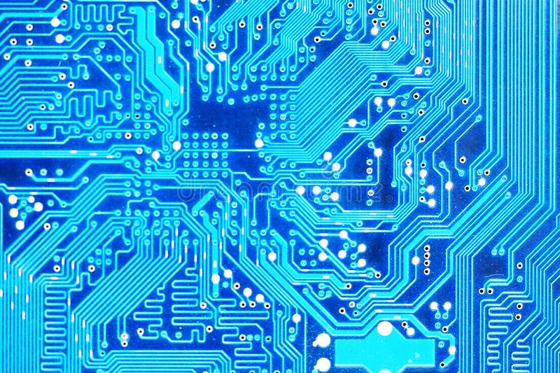 Placa madre del ordenador o primer electrónico de la placa de circuito foto de archivo libre de regalías