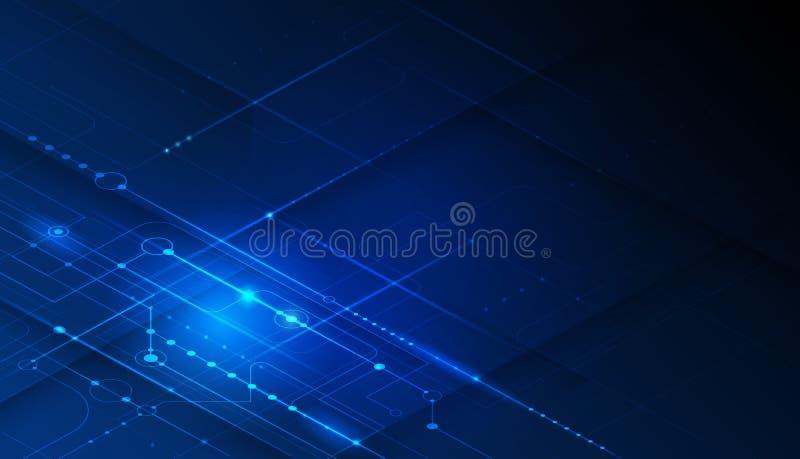 Placa madre o placa de circuito del vector en fondo azul Hardware del ejemplo, dise?o de sistemas del circuito integrado ilustración del vector