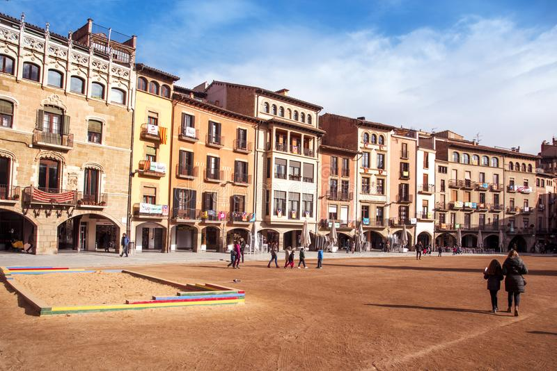 Placa Major square in Vic, Spain. VIC, SPAIN - DECEMBER 29, 2017: A view of the Placa Major square, with its emblematic buildings with porches, which is the most stock photos