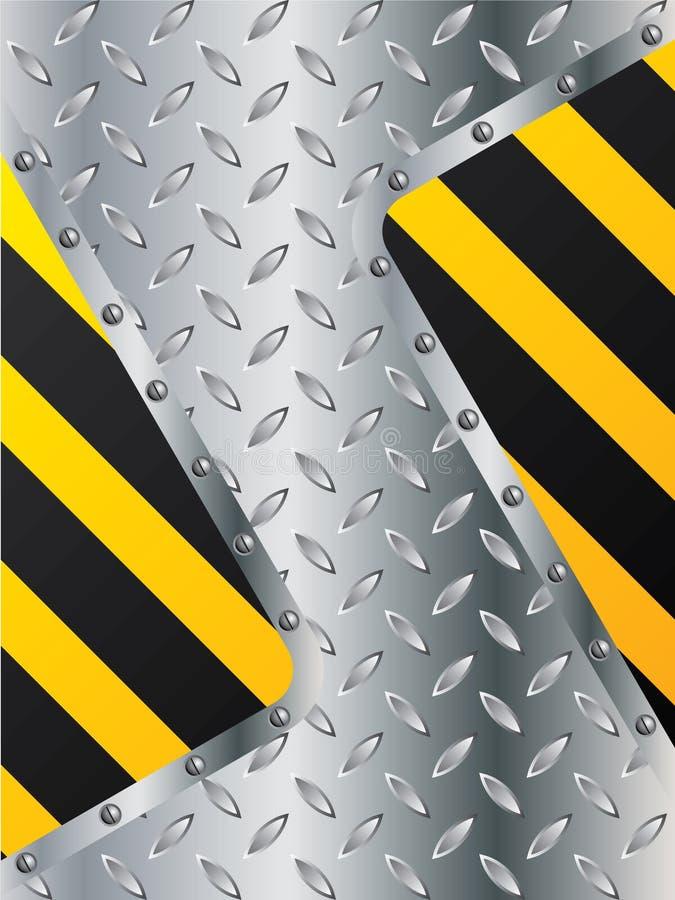 Placa metálica com elementos listrados ilustração royalty free