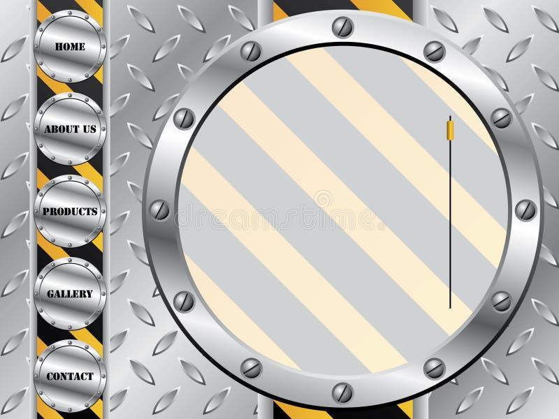 Placa metálica com molde do Web do parafuso ilustração stock
