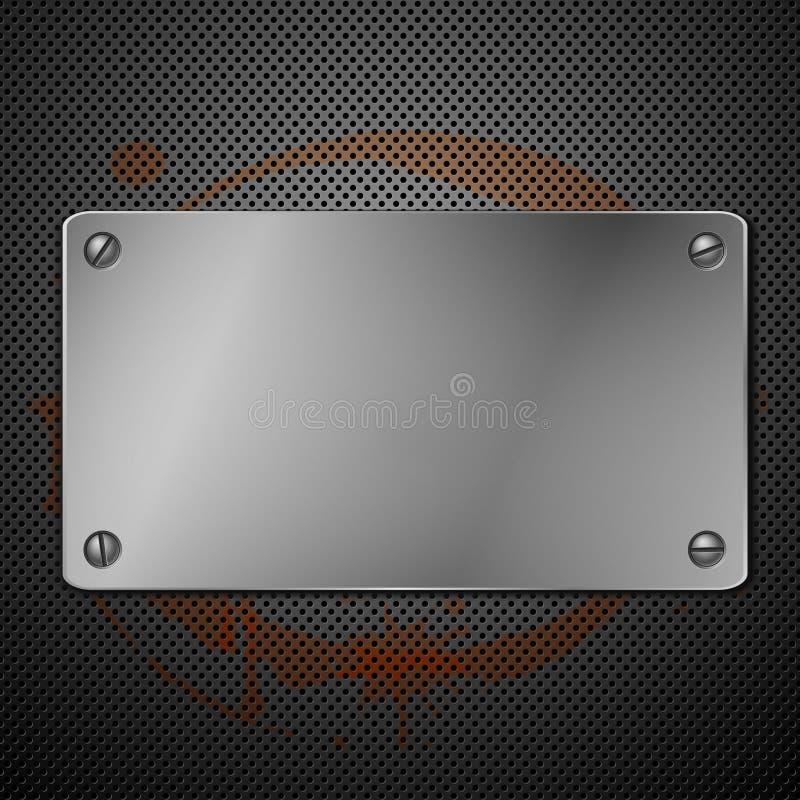 Placa metálica para la señalización ilustración del vector