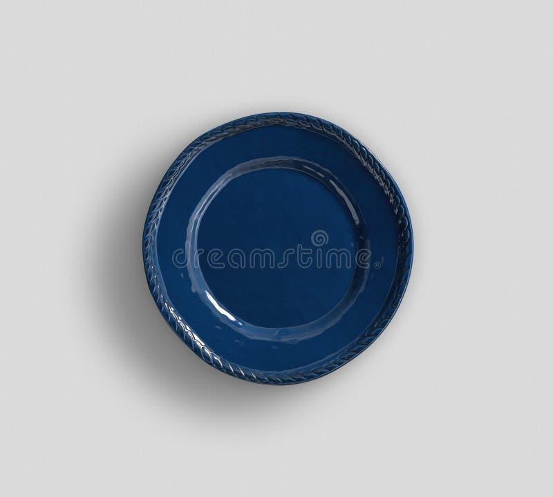 Placa moderna simples azul da cor - coleção simples da louça do esboço imagem de stock royalty free