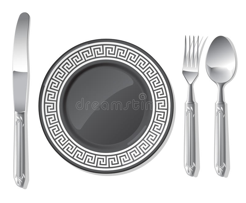 Placa negra, cuchara de plata, fork, cuchillo stock de ilustración
