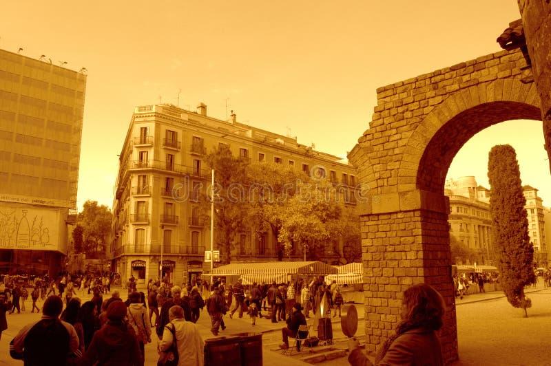 Placa Nova en la puesta del sol, Barcelona fotografía de archivo