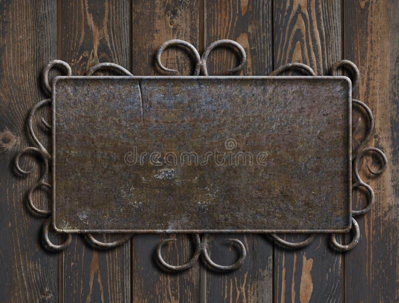 Placa ou sinal velho de metal na ilustração de madeira da porta 3d do vintage fotografia de stock royalty free