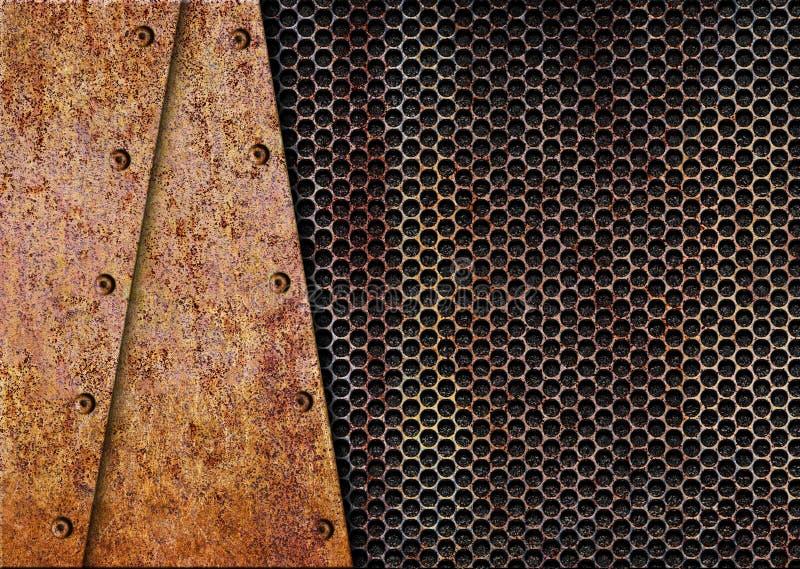 Placa oxidada na grade velha, 3d do fundo do metal, ilustração ilustração do vetor